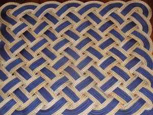 "Rope Rug Navy and Choose Accent Color 24"" x 34"" - Alaska Rug Company"