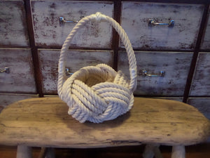 Rope Basket with Handle-Handmade Knotted Cotton Rope