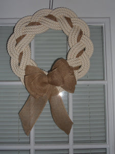 "Rope Wreath Off White Cotton Rope 16"" - Alaska Rug Company"