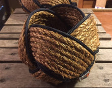 "6"" x 8"" Rope Bowl-Manila and Navy - Alaska Rug Company"