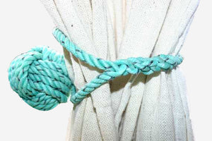 Knotted Monkey Fist Curtain Tie Back -Green - Alaska Rug Company