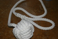 Monkey Fist Knotted Tie Back -Cotton Off white