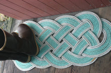 "Doormat 36"" x 15"" Green with Double Silver Accent AS SEEN on HGTV - Alaska Rug Company"