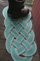 "Doormat 36"" x 15"" Green with Double Silver Accent AS SEEN on HGTV"