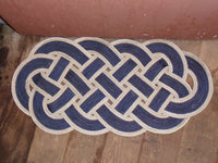 "Rope Rug Navy with Silver Accent 34"" x 15"""