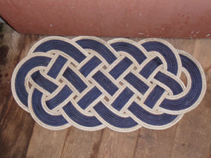 "Rope Rug Navy with Silver Accent 34"" x 15"" - Alaska Rug Company"