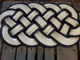 "White with Navy Accent Rug 30"" x 12"""