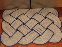"Knotted Mat 20 x 20"" Tan with Navy Accent - Alaska Rug Company"
