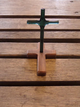 Teak Wood with Upright Glass Cross