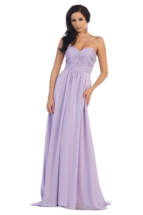 OKDRESS Strapless A-line Sweetheart Long Chiffon Lace-up Lilac Bridesmaids Dresses