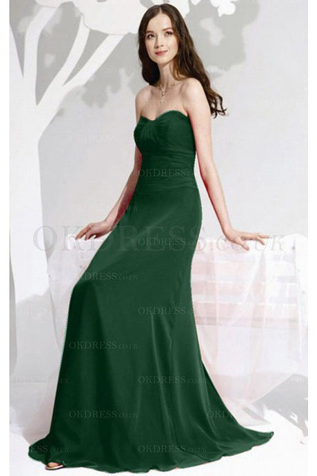 Superior Chiffon Sleeveless A-line Floor-length Green Bridesmaid Dresses