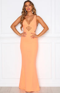 Sexy Backless V-neck Floor Long Prom Dresses with Front Key Hole Design
