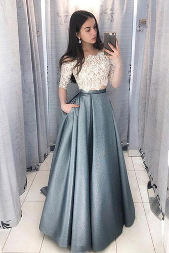 Two Piece Lace and Satin Long Prom Dresses
