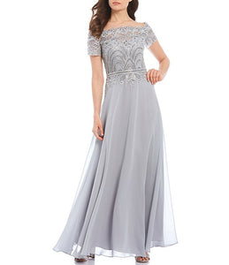 A-Line Off-the-Shoulder Floor Length Chiffon Prom Dresses With Lace Sequins
