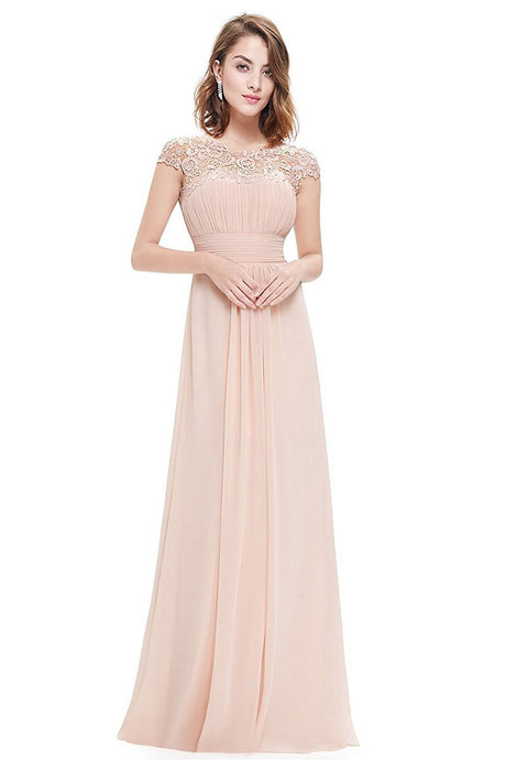 Pearl Pink Elegant Cap Sleeves Long Chiffon Formal Dress