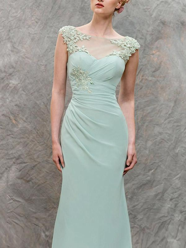 Festival Covered Button Sheath/Column Bateau Long/Floor-length Chiffon Bridesmaid Dresses