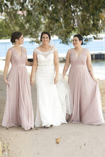 Long Chiffon V-Neck Sleeveless Bridesmaid Dress