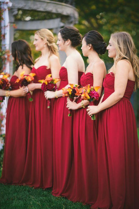 Sweetheart Red Bridesmaid Dress