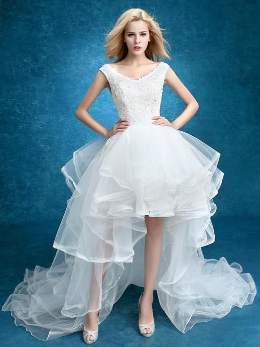 High-low Long Train Bridal Dress