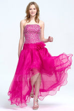 2019 New A-line/Princess Strapless Hi-Lo Tulle Prom Dresses with Sequin