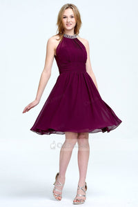 A-line/Princess Beading Halte Knee-length Chiffon Prom Dresses UK