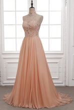 Tulle & Chiffon High Neck Evening Dresses with Beading