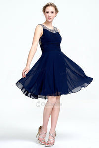 A-line Jewel Beaded Navy Blue Short Prom Dress