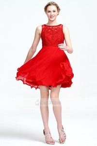 OKdress Knee-length Red Cocktail Dress with Illusion Back