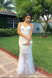 Mermaid Spaghetti Straps Open Back White Tulle Prom Dress with Lace Appliques