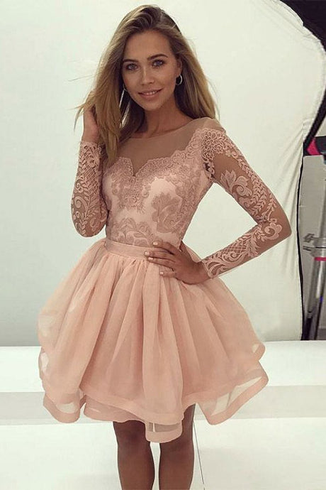 Zipper Long Sleeves A-line/Princess Pearl Pink Natural Tulle Prom Dresses