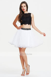 Two-Piece Black and White Short/Mini Tulle and Lace Evening Dress