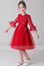 Red Flower Girl Dresses with Sleeves
