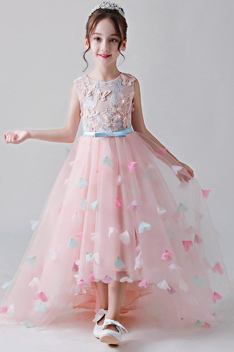 Cute High-Low Jewel Neckline Pink Flower Girl Dresses