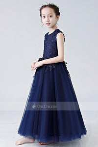 Dark Navy Organza Sleeveless Flower Girl Dresses