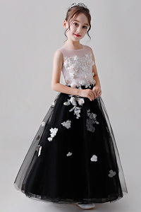 Colored Sleeveless Flower Girl Dresses with Hand-made Flowers