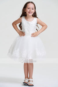 Cute Knee-length Lace Beaded Tulle Flower Girl Dress
