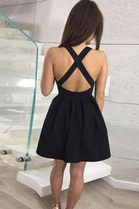 A-Line V-Neck Criss-Cross Straps Homecoming Dress