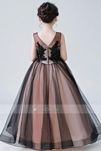 Floor-Length V-Neck Applique Flower Girl Dresses