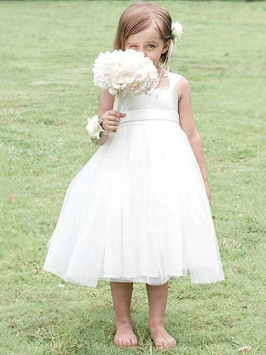 Luxuriant White Tulle Square Empire Ball Gown Flower Girl Dresses