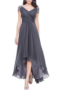 V-Neck High Low Mother of Bride Dresses with Cap Sleeves