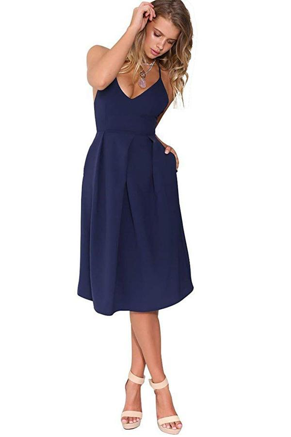 Dark Navy V-Neck Spaghetti Straps Wedding Guest Dress with Pocket