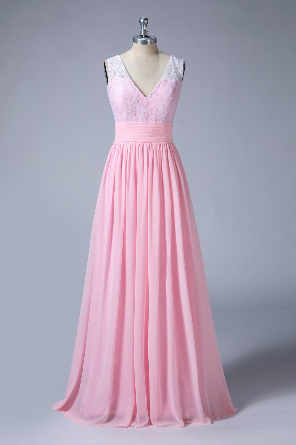 V-Neck Sleeveless A-Line Long Bridesmaid Dresses