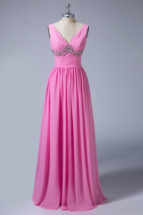 V Back A-Line Bridesmaid Dresses