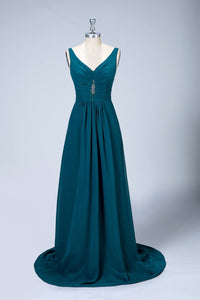 V-Neck Chiffon Long Bridesmaid Dresses