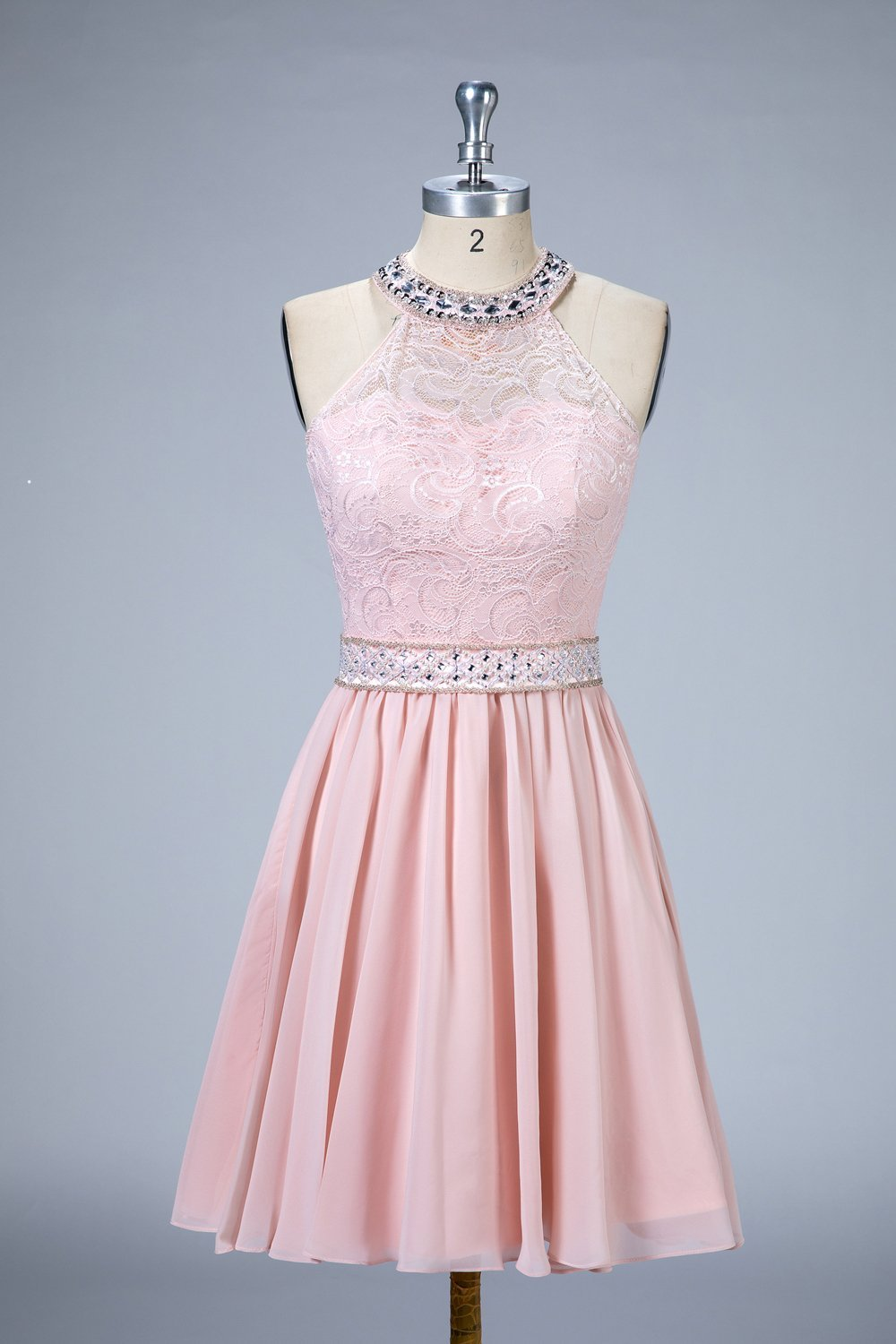 Halter A-Line Lace and Chiffon Homecoming Dresses