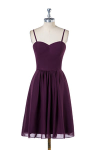 Spaghetti Straps Simple Knee-Length Bridesmaid Dress
