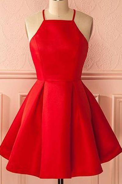 A-Line Square Neck Short Satin Red Homecoming Dress with Pleats