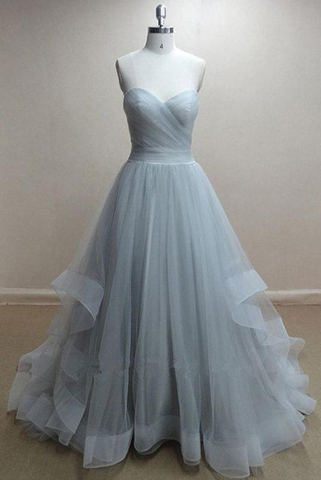 A-Line Sweetheart Organza Long Prom Dresses