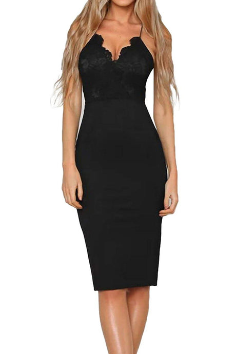 Sexy Lace V-Neck Midi Dresses Party Cocktail Dress
