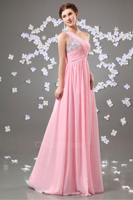 50a44413195 Snazzy One-shoulder Pleated Beading Top Long A-line Chiffon Prom Dress
